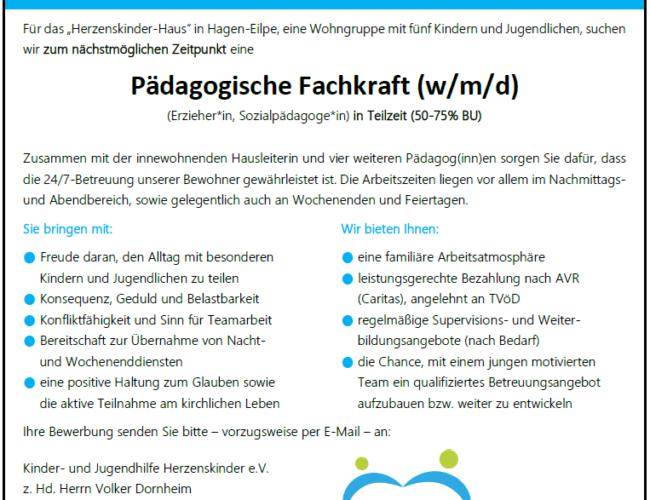 Pädagogische Fachkraft (m/w/d) ab 01.11. gesucht